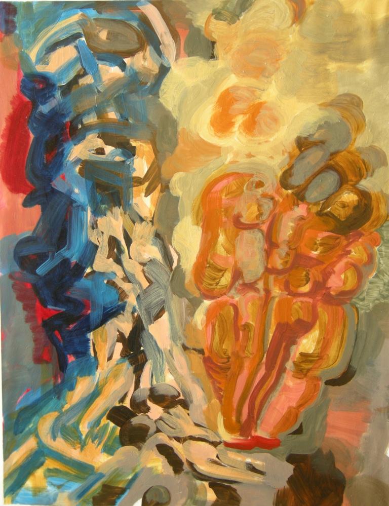 """Ephemeral"" draft 10, Oil on primed watercolour paper, H 69cm x W 53cm"