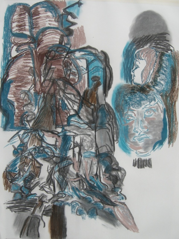 Variation 1 charcoal & pastel drawing H 114cm x W84cm
