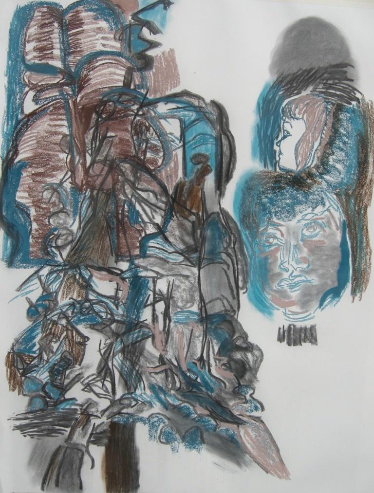 Variation 3 charcoal & pastel drawing H 114cm x W 84cm