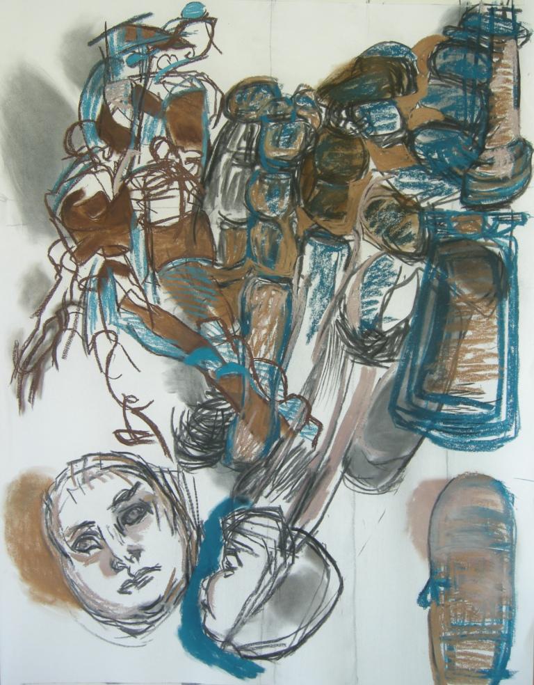 Variation 4 charcoal & pastel drawing H 114cm x W84cm