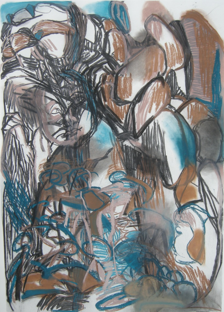 Variation 5 charcoal and pastel drawing H 114cms x W 84cms