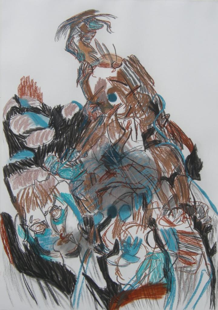 Variation 9 charcoal & pastel drawing H 114cm x W 84cm