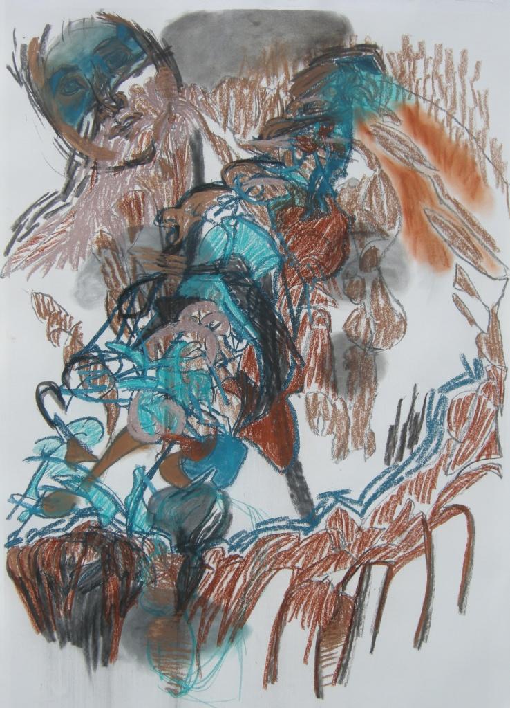 Variation 8 charcoal & pastel drawing H 114cm x W 84cm