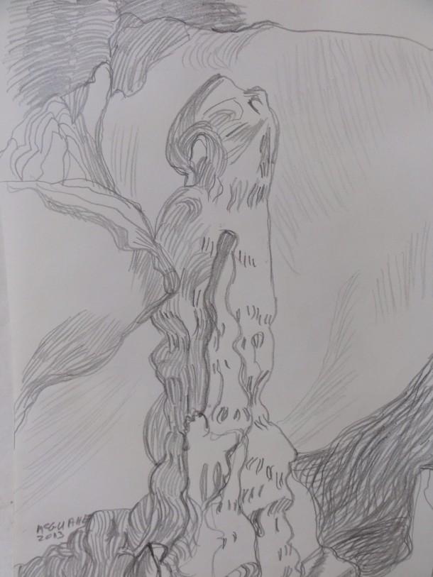 Pencil drawing.