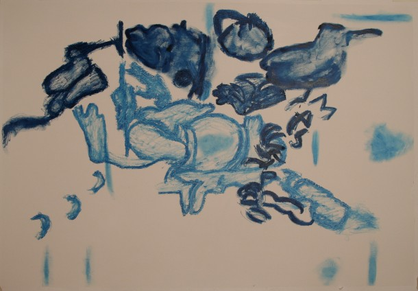 Drawing, Oil Bar on primed paper, H 73cms x W102cms