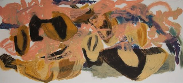 Drawing, oil bar on canvas  H 73cm X W160cm